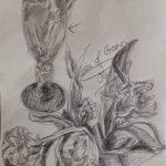 Glas und Tulpen