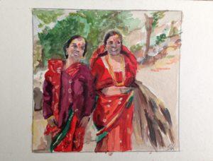 Nepalesische Frauen in Saris